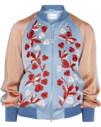 Jonathan Saunders - Cecily Embroidered Satin Bomber Jacket - Lyst
