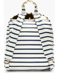 Sophie Hulme - Off_white and Navy Leather Printed Stripe Backpack - Lyst
