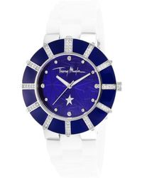 Thierry Mugler Women'S White Rubber Blue Dial - Lyst