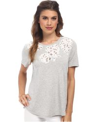 Rebecca Taylor Short Sleeve Flower Lace Tee - Lyst