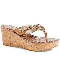 Sam Edelman Randi Crystal-Embellished Wedge Sandals - Lyst