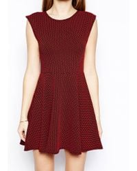 Ax Paris Texture Spot Skater Dress - Lyst