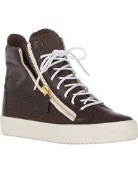 Giuseppe Zanotti Alligator-stamped Double-zip Sneakers - Lyst