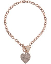 Guess Stone Heart Toggle Necklace With Triangle - Lyst