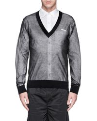 Givenchy Logo Appliqué Sheer Sweater - Lyst