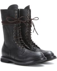 Rick Owens Army Laced Leather Boots - Lyst