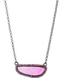 Bavna - Freeform Diamond Pave Ruby Necklace - Lyst