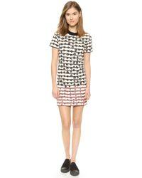 Sonia By Sonia Rykiel Striped Flowers T-Shirt Dress - Off White/Navy/Berry - Lyst