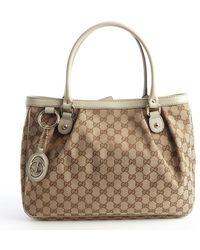 Gucci Beige and Brown GG Canvas Top Handle Sukey Tote - Lyst