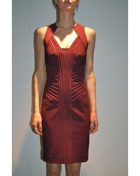 Yigal Azrouel Mechanical Stretch Dress Merlot - Lyst