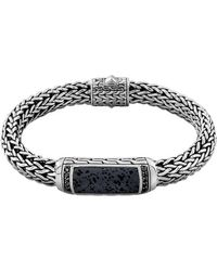 John Hardy Mens Classic Chain Black Volcanic and Black Sapphire Bracelet - Lyst