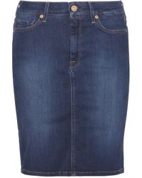 7 For All Mankind Denim Pencil Skirt - Lyst