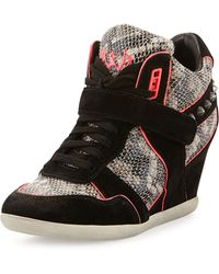 Ash Bisou Pipetrim Snakeembossed Leather Wedge Sneaker - Lyst