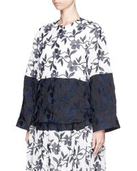 Ms Min Flower Embroidery Cotton Toile Collarless Shirt - Lyst