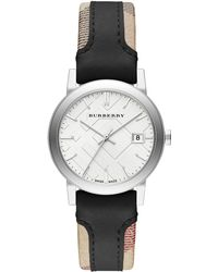 Burberry City Stainless Steel  Leather Strap Watchblack - Lyst