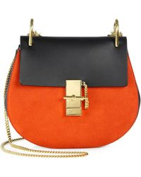 Chloé Twotone Leather and Suede Flap Shoulder Bag - Lyst