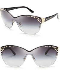Versace Studded Rimless Cat Eye Shield Sunglasses - Lyst