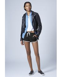 TOPSHOP - Contrast Sporty Seam Runner Shorts - Lyst
