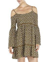 Sans Souci - Olive Floral Cold Shoulder Dress - Lyst