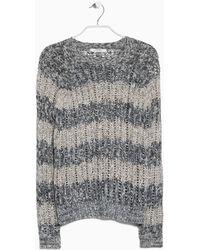 Mango Striped Open-Work Sweater gray - Lyst