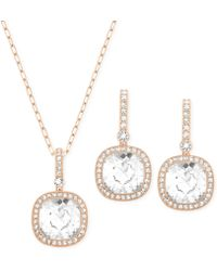 Swarovski Below Rose Goldtone Crystal Necklace and Earrings Set - Lyst