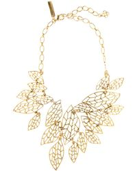 Oscar de la Renta Filigree Leaf Motif Necklace - Lyst