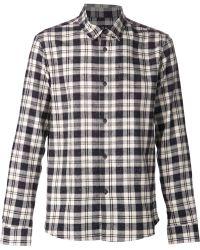 A.P.C. Blue Plaid Shirt - Lyst