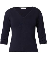 J.W. Anderson Gathered-Sleeve V-Neck Sweater - Lyst