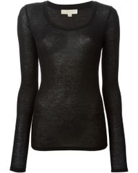 MICHAEL Michael Kors Sheer Fitted Top - Lyst
