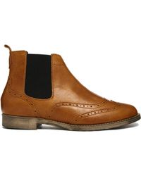 Oasis Chelsea Tan Leather Brogue Ankle Boots - Lyst