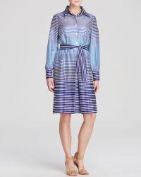 Anne Klein Dress - Grace Striped Belted Shirt - Lyst