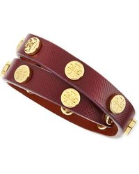 Tory Burch Logostudded Leather Wrap Bracelet - Lyst