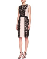 Tadashi Shoji Sleeveless Alternating Lace Cocktail Dress - Lyst