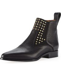 Chloé Studded Leather Chelsea Boot Black - Lyst