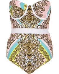 River Island Green Scarf Print Mesh Insert Swimsuit - Lyst