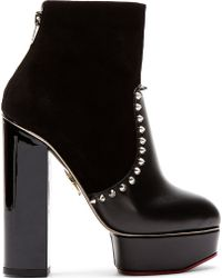 Charlotte Olympia Black Suede and Leather Studded Platform Valerie Boots - Lyst