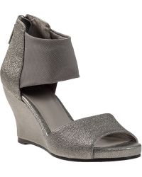 Eileen Fisher Corona Wedge Sandal Pewter Leather - Lyst