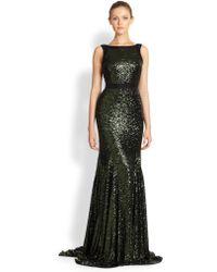 Badgley Mischka Sequined Gown green - Lyst