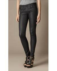Burberry Stretch Nappa Leather Skinny Fit Trousers - Lyst