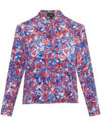 Saloni Simone Cropped Silk Crepe De Chine Shirt blue - Lyst
