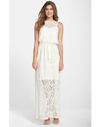 Maggy London Tie Waist Lace Maxi Dress - Lyst