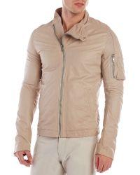 Rick Owens Beige Globa Bomber Leather Jacket - Lyst