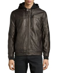 Marc New York By Andrew Marc Hooded Leather Moto Jacket - Lyst