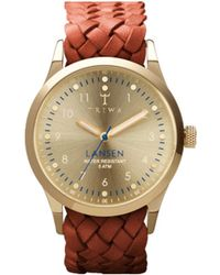 Triwa Lansen Gold Watch Brown Braided Leather Nat Bracelet - Lyst