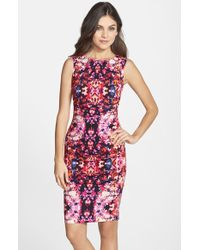 Nicole Miller 'Lauren Water Lily' Cotton Blend Body-Con Dress pink - Lyst