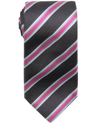 Hugo Boss Bright Pink And Grey Stripe Printed Silk Tie - Lyst