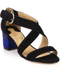 Ferragamo Magis Two-Tone Suede Sandals black - Lyst