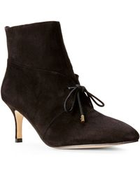 Carmen Marc Valvo - Black Agnese Suede Booties - Lyst