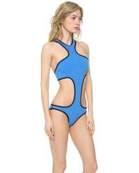 Indah Sazerac Cutaway One Piece Swimsuit Coralblue - Lyst