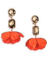 Tory Burch Pentier Flower Petal Clipon Drop Earrings - Lyst
